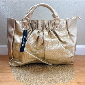 🆕NEW!!🛍 Large Gold Textured Woven Tote